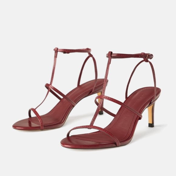 Zara Shoes | Zara Burgundy Leather Thin